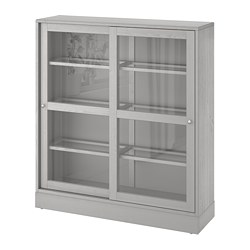 HAVSTA - Glass-door cabinet with plinth, grey/clear glass