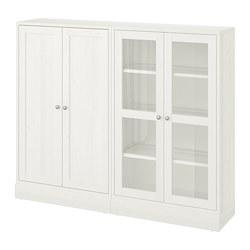 HAVSTA - Kombinasi penyimpanan dg pintu kaca, putih