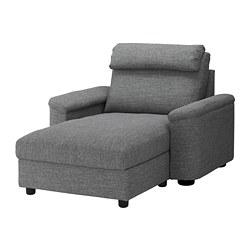 LIDHULT - Chaise longue, Lejde abu-abu/hitam