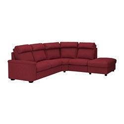 LIDHULT - Sofa sudut, 5 dudukan, dengan ujung terbuka/Lejde merah-cokelat