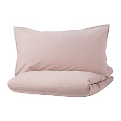 BERGPALM - Quilt cover and 2 pillowcases, pink/stripe
