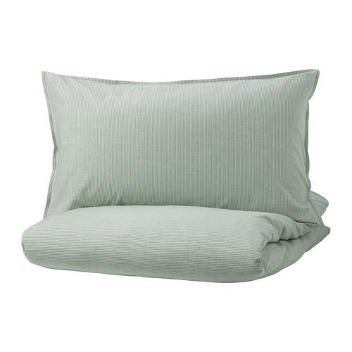 BERGPALM - sarung duvet dan sarung bantal, hijau/garis-garis, 150x200/50x80 cm | IKEA Indonesia - PE732529_S4