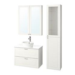 KATTEVIK/GODMORGON/TOLKEN - Bathroom furniture, set of 6, Kasjön white/marble effect Voxnan tap