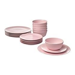 DINERA - DINERA, alat saji 18 unit, merah muda terang