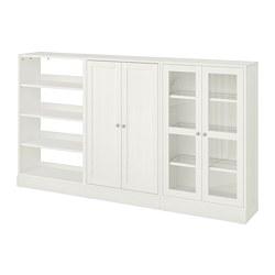 HAVSTA - Kombinasi penyimpanan dg pintu kaca, putih, 243x37x134 cm