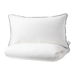 KUNGSBLOMMA - Sarung quilt dan 4 sarung bantal, putih/abu-abu