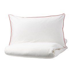KUNGSBLOMMA - Quilt cover and 4 pillowcases, white/red