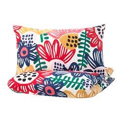 SOMMARASTER - Sarung quilt dan 2 sarung bantal, putih/aneka warna