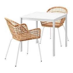 MELLTORP/NILSOVE - Meja dan 2 kursi, putih/rotan putih