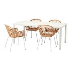 NILSOVE/TINGBY - Meja dan 4 kursi, putih/rotan putih