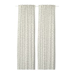 BRANDNÄVA - Curtains, 1 pair, white/grey
