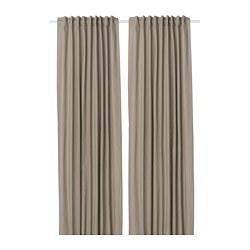 KALKFLY - Room darkening curtains, 1 pair, dark beige