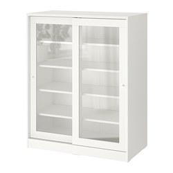 SYVDE - Kabinet dengan pintu kaca, putih, 100x123 cm