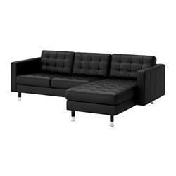 LANDSKRONA - Sofa 3 dudukan, dengan chaise longue/Grann/Bomstad hitam/logam