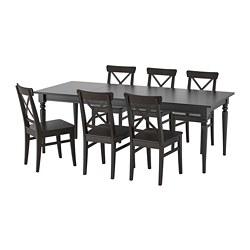 INGATORP/INGOLF - Meja dan 6 kursi, hitam/cokelat-hitam