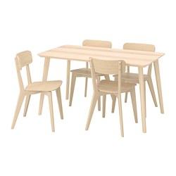 LISABO/LISABO - Meja dan 4 kursi, veneer kayu ash/kayu ash