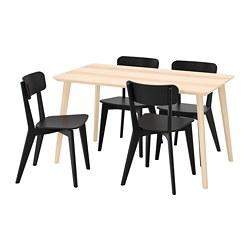 LISABO/LISABO - Table and 4 chairs, ash veneer/black