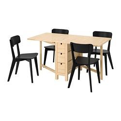 NORDEN/LISABO - Meja dan 4 kursi, kayu birch/hitam