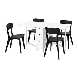 NORDEN/LISABO - Meja dan 4 kursi, putih/hitam
