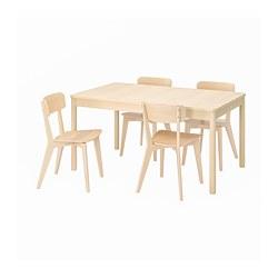RÖNNINGE/LISABO - Meja dan 4 kursi, kayu birch/kayu ash