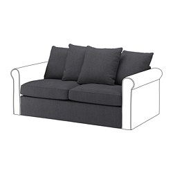 GRÖNLID - Bagian sofa tempat tidur 2 dudukan, Sporda abu-abu tua
