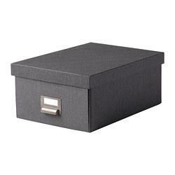 TJOG - Storage box with lid, dark grey