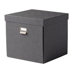 TJOG - TJOG, kotak penyimpanan dengan penutup, abu-abu tua, 32x31x30 cm