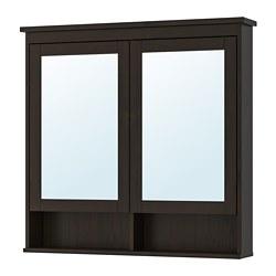 HEMNES - Kabinet cermin 2 pintu, warna hitam-cokelat
