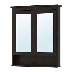 HEMNES - Mirror cabinet with 2 doors, black-brown stain