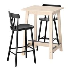 NORRARYD/NORRÅKER - Bar table and 2 bar stools, birch/black