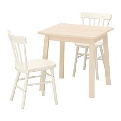 NORRARYD/NORRÅKER - Meja dan 2 kursi, kayu birch/putih