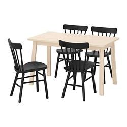 NORRARYD/NORRÅKER - Meja dan 4 kursi, kayu birch/hitam