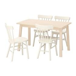 NORRARYD/NORRÅKER - Meja dan 4 kursi, kayu birch/putih