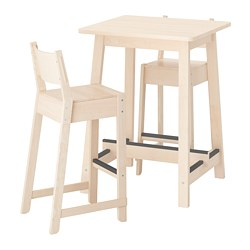 NORRÅKER/NORRÅKER - Bar table and 2 bar stools, birch birch