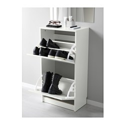 BISSA - Shoe cabinet with 2 compartments, white