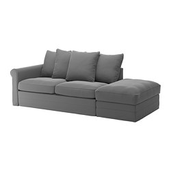 GRÖNLID - 3-seat sofa-bed, with open end/Ljungen medium grey