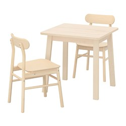 RÖNNINGE/NORRÅKER - Meja dan 2 kursi, kayu birch/kayu birch
