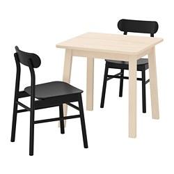 RÖNNINGE/NORRÅKER - Meja dan 2 kursi, kayu birch hitam