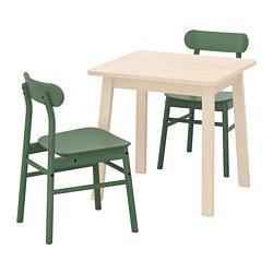RÖNNINGE/NORRÅKER - Meja dan 2 kursi, kayu birch/hijau