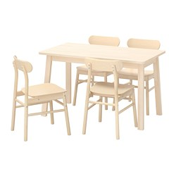 RÖNNINGE/NORRÅKER - Meja dan 4 kursi, kayu birch/kayu birch