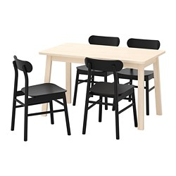 RÖNNINGE/NORRÅKER - Table and 4 chairs, birch/black