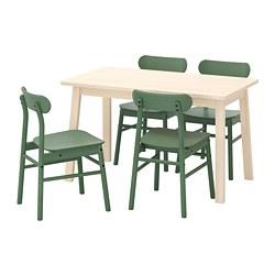 RÖNNINGE/NORRÅKER - Meja dan 4 kursi, kayu birch/hijau