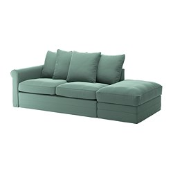 GRÖNLID - 3-seat sofa-bed, with open end/Ljungen light green