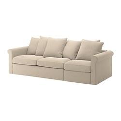 GRÖNLID - Sofa tempat tidur 3 dudukan, Sporda alami