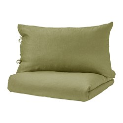 PUDERVIVA - Quilt cover and 2 pillowcases, light olive-green
