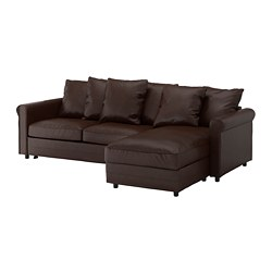 GRÖNLID - 3-seat sofa-bed, with chaise longue/Kimstad dark brown