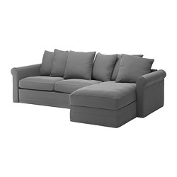 GRÖNLID - 3-seat sofa-bed, with chaise longue/Ljungen medium grey