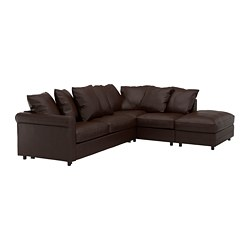 GRÖNLID - Corner sofa-bed, 4-seat, with open end/Kimstad dark brown