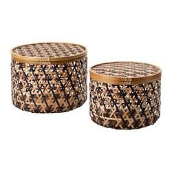 ANILINARE - ANILINARE, ktk penyimpanan dg tutup, set isi 2, bambu hitam/cokelat