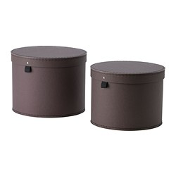 ANILINARE - Storage box with lid, set of 2, dark brown